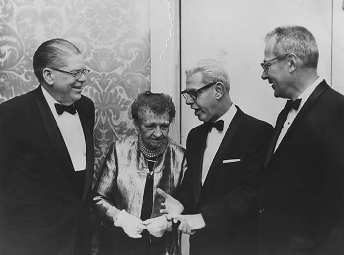 Former secretary James Mitchell (left) joins former secretaries Frances Perkins, Arthur Goldberg and Willard Wirtz at a reception for the department's 50th Anniversary, March 4, 1963.