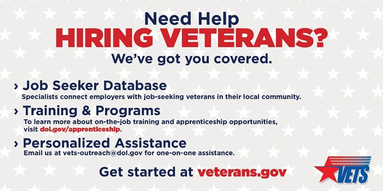 Need Help Hiring Veterans? We've got you covered. 1 Job Seeker Database Specialists connect employers with job-seeking veterans in their local community. 2 Training and Programs. To </p> </body></html>
