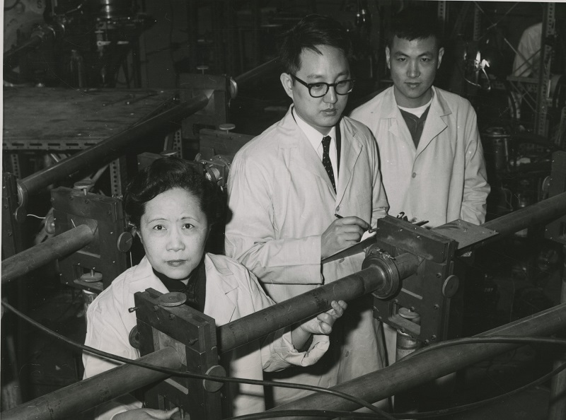 The experiments of Columbia University physicists (left to right) Wu, Y.K. Lee, and L.W. Mo confirmed the theory of conservation of vector current.