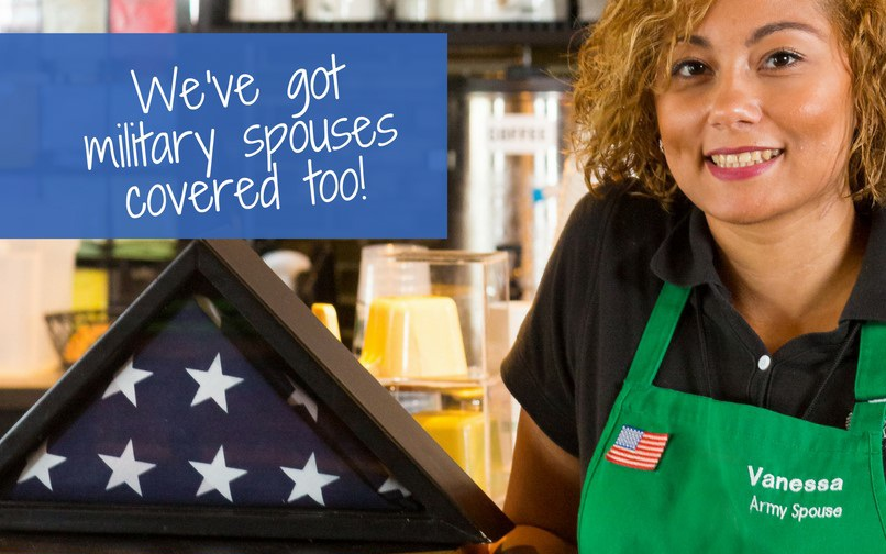 Text: We've got military spouses covered too! Image: An army spouses poses at the coffee shop where she works.