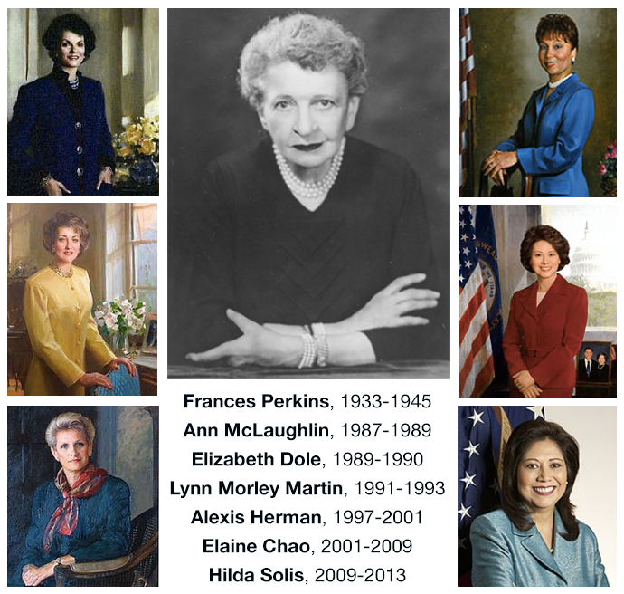 Official portraits of the department's seven female secretaries: Frances Perkins, 1933-1945, Ann McLaughlin, 1987-1989, Elizabeth Dole, 1989-1990, Lynn Morley Martin, 1991-1993, Alexis Herman, 1997-2001, Elaine Chao, 2001-2009 and Hilda Solis, 2009-2013.