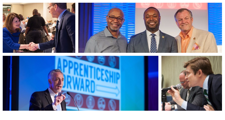 A collage shows people participating in panel discussions and giving keynotes at the Apprenticeship Forward conference