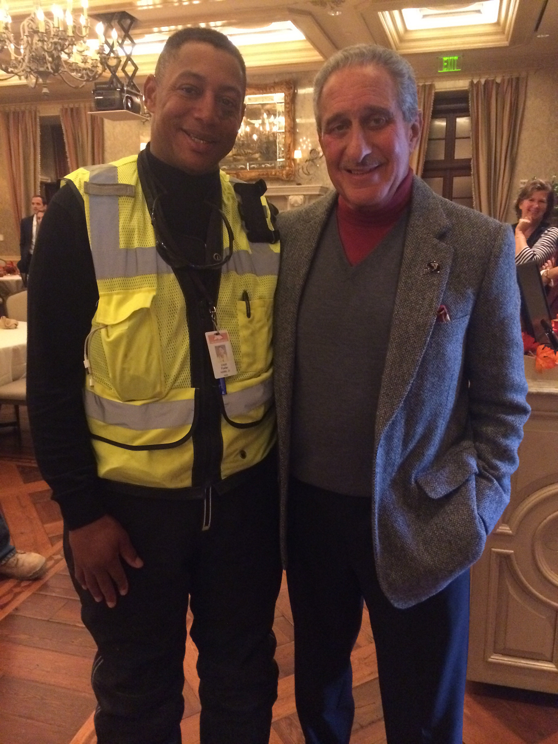 Lloyd with Falcons Owner Arthur Blank at the Arthur M. Blank Foundation Thanksgiving Luncheon Nov. 18, 2014. Lloyd was asked to share his story as the keynote speaker.