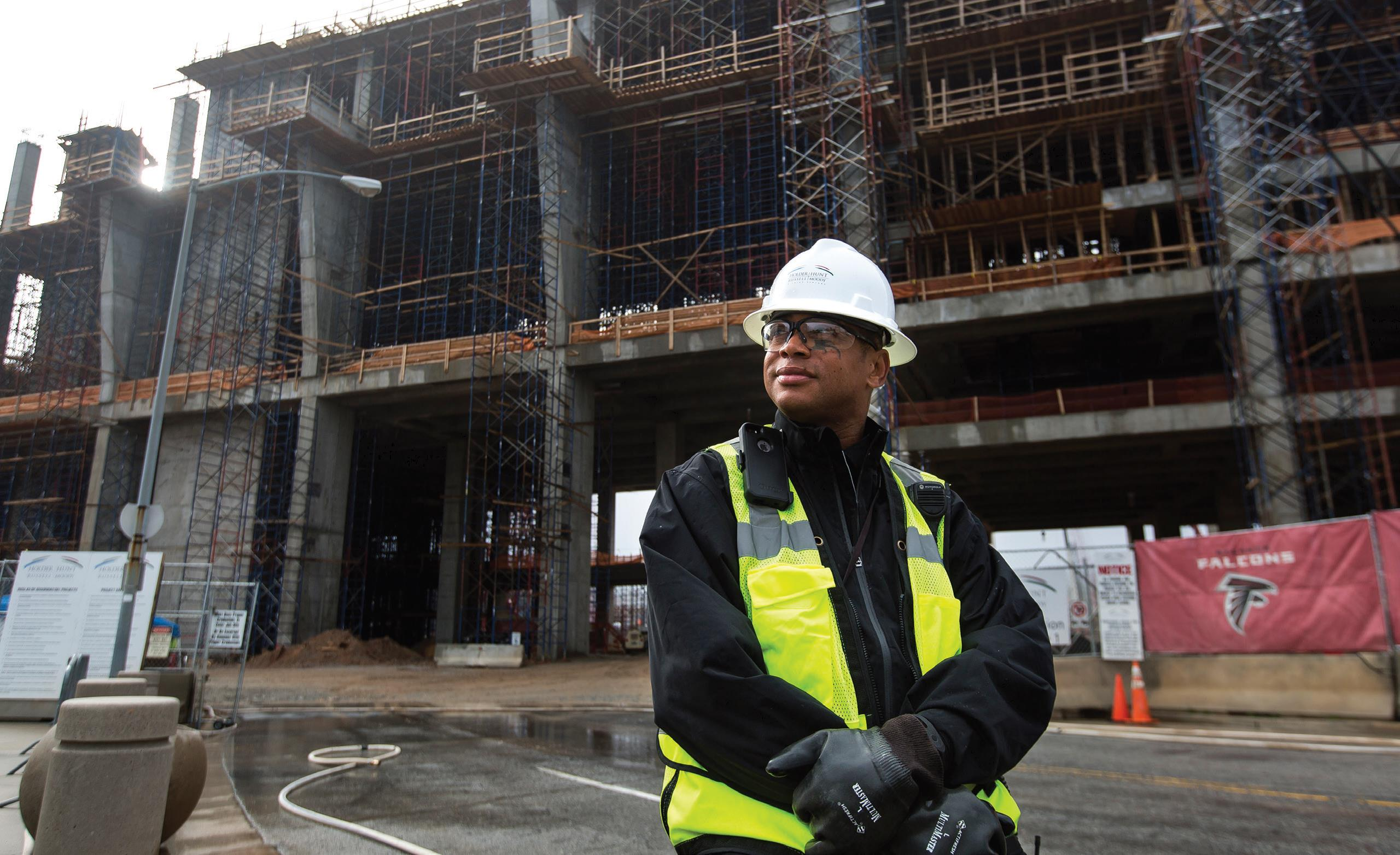 Lloyd Foster at the construction site of the new Atlanta Falcons stadium