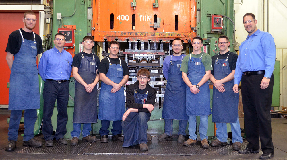 From left: Apprentice James Peterson; tool room manager John Watson; apprentices Trey Munson, Jory Dalsanto, Shayne Barnes, Steven McIlory, Nick Dietmeier, Paul Powers; and Rockford Toolcraft President Tom Busse.