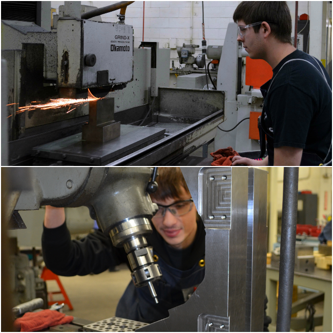 Top: Apprentice tool and die maker Trey Munson grinds a punch. Bottom: Shayne Barns works at a milling machine. He has recently completed all requirements and will soon receive his tool and die maker journeyman card.