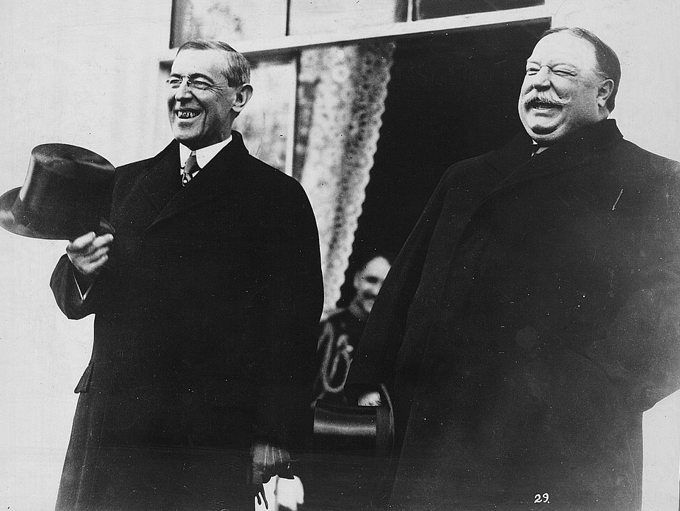 President-elect Wilson and President Taft were photographed at the White House just before Wilson's inauguration ceremony. Credit: Library of Congress.