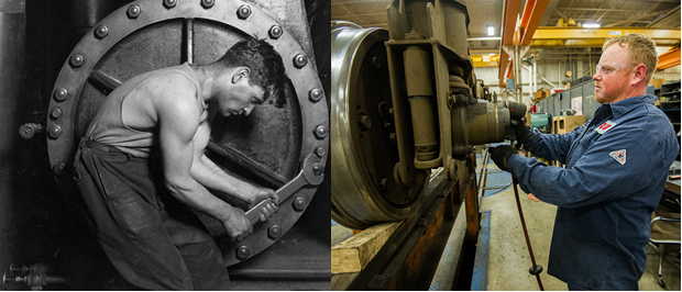 Left: 1920 art by Lewis Hine shows a power house mechanic working on steam pump. Right: Equipment maintainer Don Myers works on a train wheel at the Greater Cleveland Area Regional Transit Authority in 2015.