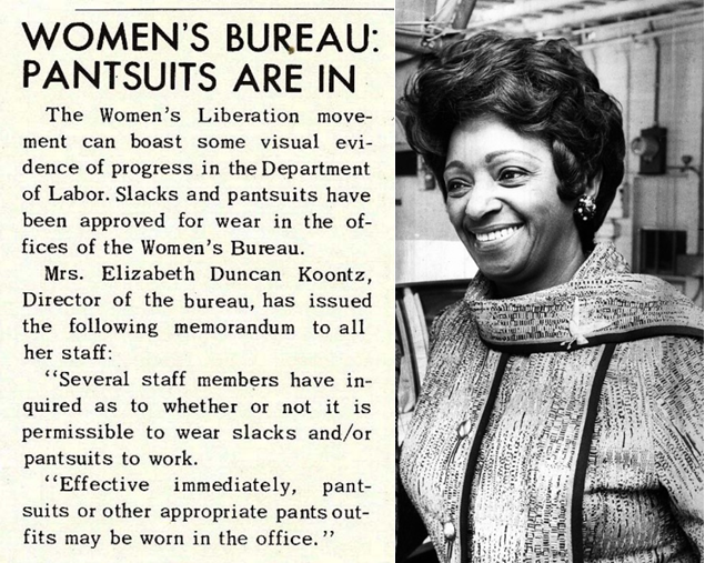 "A news clip from around 1970 with the headline ""Women's Bureau: pantsuits are in"" and a photo of Director Elizabeth Duncan Koontz"