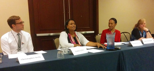 Left to Right: Chris Seely, OFCCP; Latifa Lyles, WB; Charlotte Burrows, EEOC; and Laura Fortman, WHD.