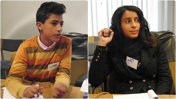 Batoul (right) and Mousab volunteered their time after school to hear the stories of child laborers in their communities.