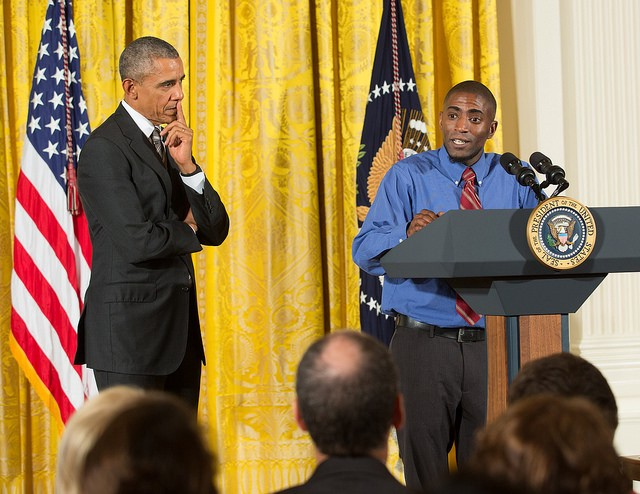 Terrence shares his story at the White House Summit on Worker Voice in 2015.