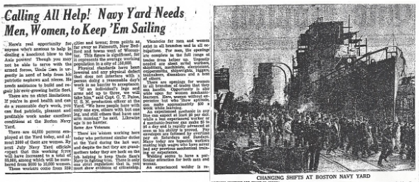 "A Daily Boston Globe article from Jan. 17, 1943, with the headline: ""Calling All Help! Navy Yard Needs Men, Women, to Keep 'Em Sailing."" There is also a photo of the Charlestown Shipyard."