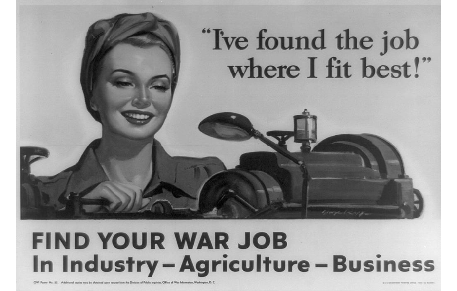 """I've found the job where I fit best."" A World War II poster encourages women to look for work in industry, agriculture and business. The woman pictured is operating a machine."