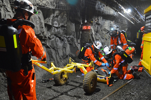 Rescuers compete at the 2016 International Mine Rescue Competition in Sudbury, Canada.