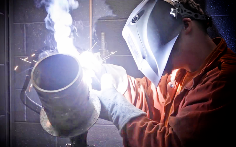 Graphic shows a veteran welding. National Hire a Veteran Day. July 25, 2020