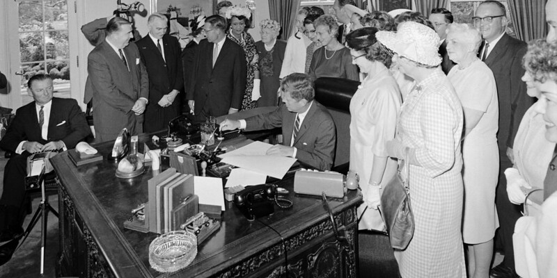 President Kennedy signs the Equal Pay Act -historic equal pay signing