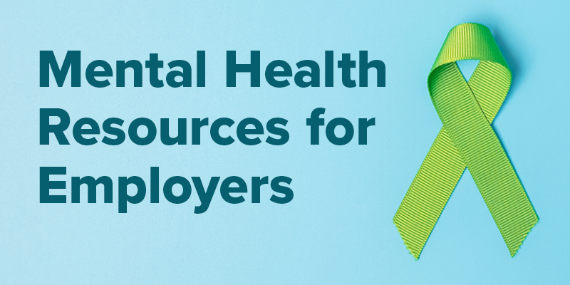 Mental Health Resources for Employers. Green ribbon on a blue background.