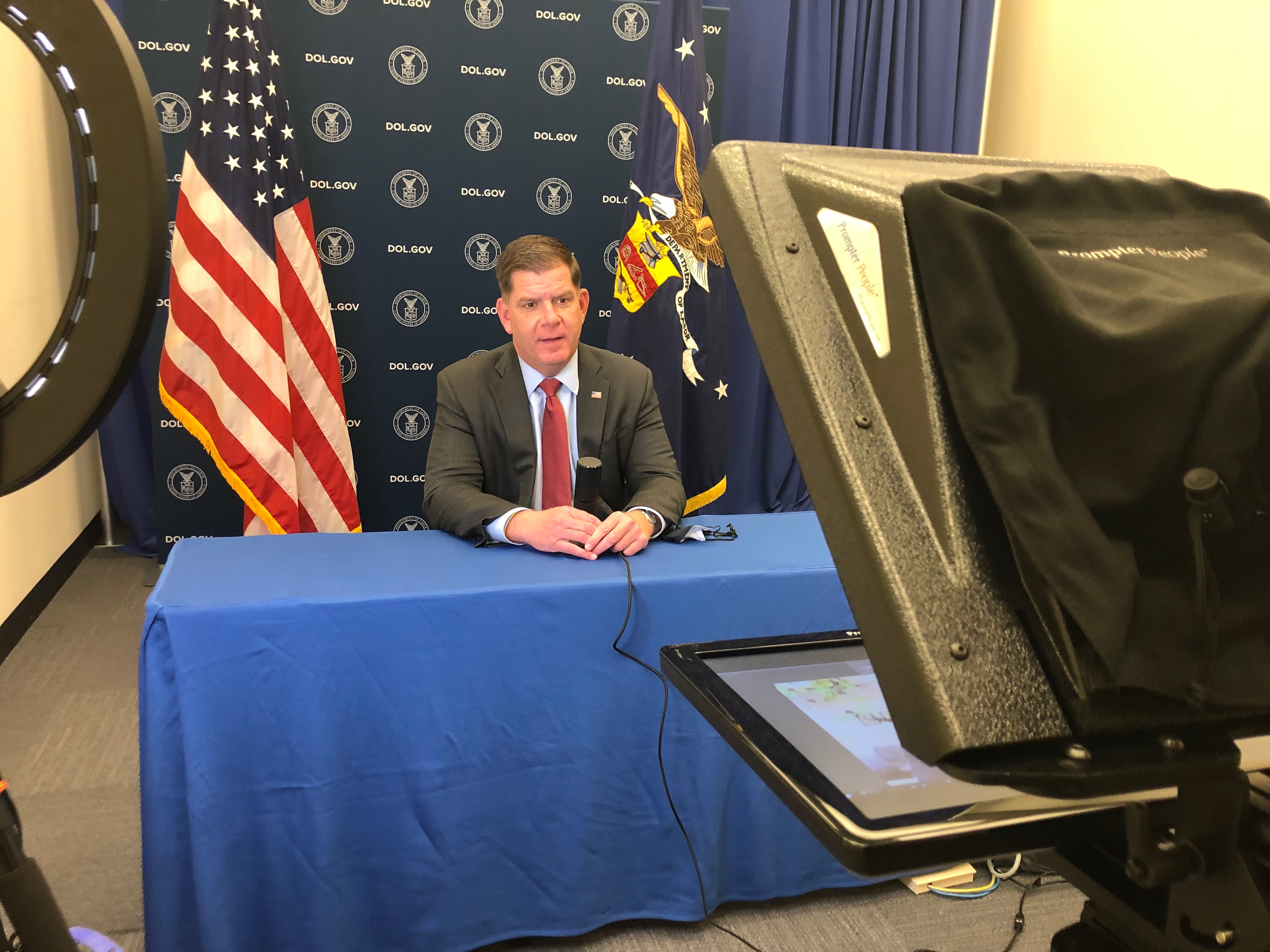 Secretary Marty Walsh films a live in-studio interview.