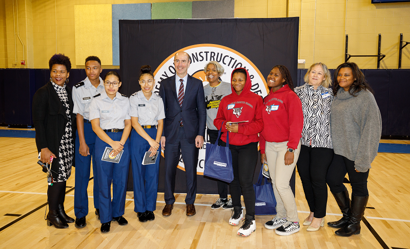 U.S. Secretary of Labor Eugene Scalia with students, apprentices, and employers at a career fair hosted by Phelps ACE High School in Washington, D.C.