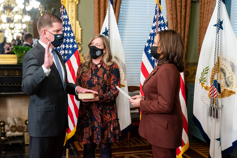Marty Walsh is sworn in by Vice President Kamala Harris as secretary of labor on March 23, 2021.