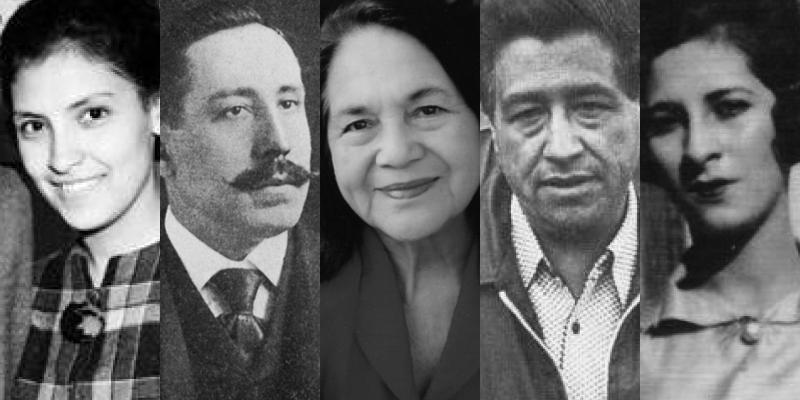 Collage of photos of Cesar Chavez, Dolores Huerta, Santiago Iglesias Pantin, Luisa Moreno, Emma Tenayuca