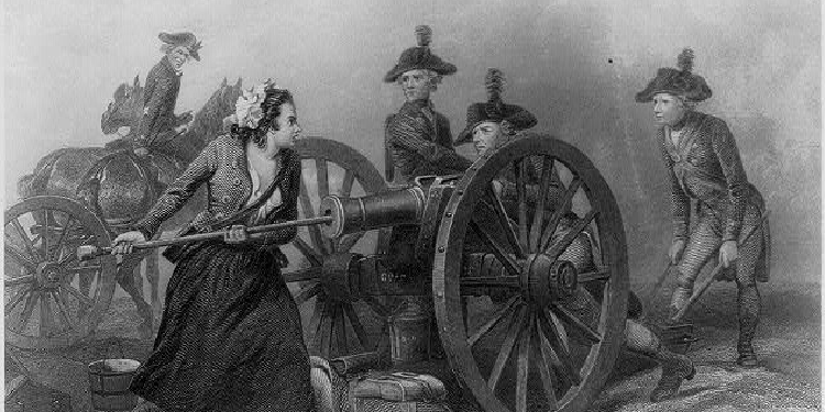 Black and white art of a woman loading a cannon in battle.