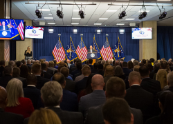 Secretary Scalia delivers opening remarks at the HIRE Vets Medallion Award ceremony on Nov. 6, 2019.