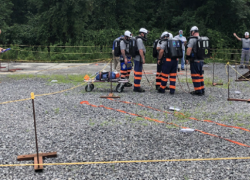 Judges evaluate a rescue team during the nation's first successful mine rescue contest of 2020 in Norton, Virginia.