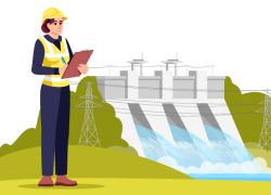 "Illustration of a female environmental engineer holding a clipboard near a dam. The text says ""Green Jobs With the Most Projected Openings, 2019-2029"""