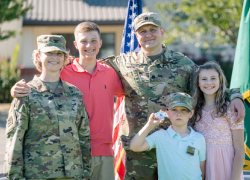 The Derda family following a joint promotion ceremony on Sept. 2, 2020, at Camp Murray, Washington. Photo: National Guard