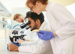 Apprentices in a laboratory look into a microscope