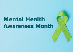 "A green ribbon for Mental Health Awareness Month with the text ""Making the most of your mental health benefits."""