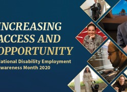 "Text: ""Increasing Access and Opportunity: National Disability Employment Awareness Month 2020."" A collage of photos shows workers with different disabilities."