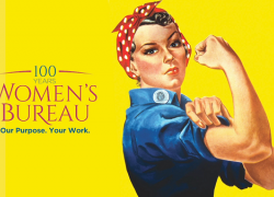 Image of Rosie the Riveter with the Women's Bureau Centennial logo