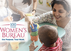 Women's Bureau Centennial logo on a photo of a woman playing with a small child in an educational setting