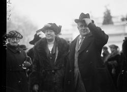 Mary Anderson, the first director of the Women's Bureau, stands with U.S. Secretary of Labor James Davis at the White House in 1923.