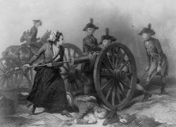 Artwork: Molly pitcher loads a cannon during battle.